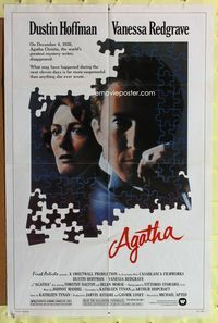 3z029 AGATHA one-sheet poster '79 cool puzzle art of Dustin Hoffman & Vanessa Redgrave as Christie!