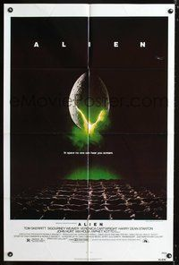3z030 ALIEN one-sheet '79 Ridley Scott outer space sci-fi monster classic, cool hatching egg image!