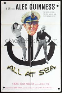 3z031 ALL AT SEA one-sheet movie poster '58 captain Alec Guinness & sexy English babes!