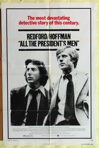 3z033 ALL THE PRESIDENT'S MEN one-sheet '76 Dustin Hoffman & Robert Redford as Woodward & Bernstein!