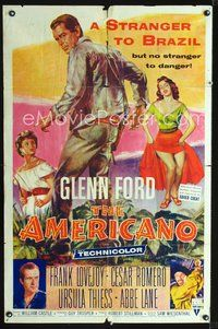 3z036 AMERICANO one-sheet poster '55 Glenn Ford is a stranger to Brazil but no stranger to danger!