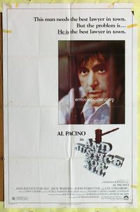 3z037 AND JUSTICE FOR ALL one-sheet movie poster '79 Norman Jewison, Al Pacino is out of order!