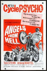3z038 ANGELS FROM HELL one-sheet movie poster '68 AIP, really cool image of motorcycle-psycho biker!