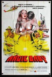 3z039 ANGIE BABY one-sheet movie poster '91 artwork of super sexy Linda Neal, cool action scenes!
