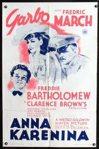 3z040 ANNA KARENINA one-sheet poster R62 beautiful Greta Garbo, Fredric March, Freddie Bartholomew