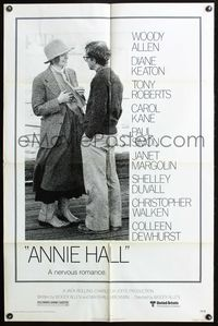 3z041 ANNIE HALL one-sheet poster '77 full-length Woody Allen & Diane Keaton, a nervous romance!