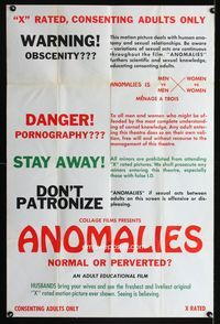 3z042 ANOMALIES one-sheet movie poster '70s sex, Menage a trois, normal or perverted?