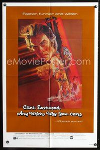 3z044 ANY WHICH WAY YOU CAN int'l one-sheet poster '80 cool artwork of Clint Eastwood by Bob Peak!