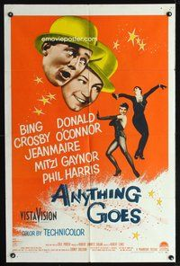 3z045 ANYTHING GOES one-sheet '56 Bing Crosby, Donald O'Connor, Jeanmaire, music by Cole Porter!