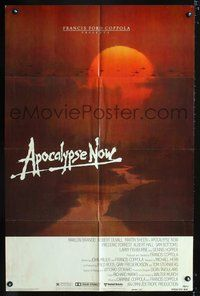 3z046 APOCALYPSE NOW advance one-sheet '79 Marlon Brando, Francis Ford Coppola, cool Vietnam image!