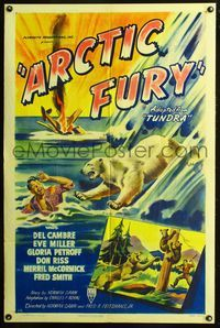 3z047 ARCTIC FURY style A one-sheet poster '49 cool art of polar bear attacking crashed bush pilot!