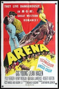 3z048 ARENA one-sheet movie poster '53 cool image of cowboy Gig Young on horseback, Jean Hagen!