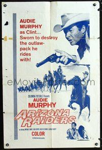 3z049 ARIZONA RAIDERS military one-sheet movie poster '65 Audie Murphy as Raider-Turned-Ranger!