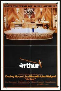 3z051 ARTHUR int'l one-sheet poster '81 great image of drunken Dudley Moore holding martini in bath!