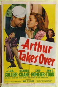 3z052 ARTHUR TAKES OVER one-sheet '48 Lois Collier & Richard Crane have to hide their marriage!