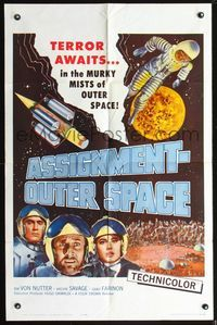 3z054 ASSIGNMENT-OUTER SPACE one-sheet poster '62 Antonio Margheriti, Italian sci-fi Space Men!