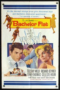 3z055 BACHELOR FLAT one-sheet '62 Tuesday Weld & Richard Beymer kiss close up, a wall to wall WOW!