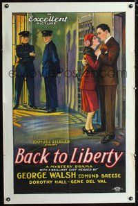3z056 BACK TO LIBERTY one-sheet poster '27 cool stone litho art of George Walsh & Dorothy Hall!