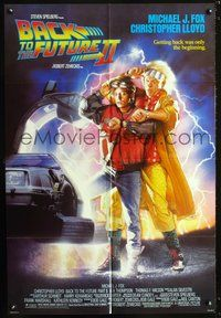3z057 BACK TO THE FUTURE II one-sheet '89 art of Michael J. Fox & Christopher Lloyd by Drew Struzan!