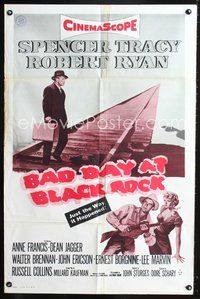 3z058 BAD DAY AT BLACK ROCK 1sh R60s Spencer Tracy trying to find out just what happened to Komoko!