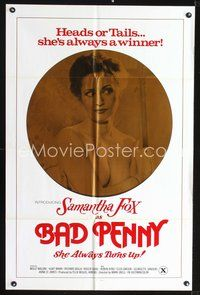 3z059 BAD PENNY one-sheet '78 heads or tails, Samantha Fox is always a winner, x-rated, cool image!