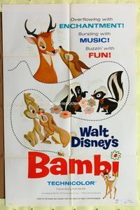 3z061 BAMBI style A 1sh R75 Walt Disney cartoon deer classic, great art of forest animals in love!