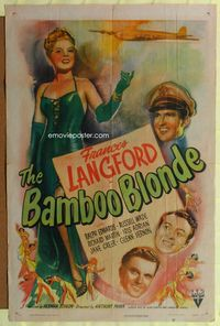 3z062 BAMBOO BLONDE one-sheet poster '46 art of super sexy elegant Frances Langford & WWII bomber!