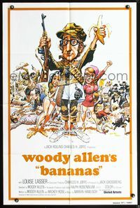 3z063 BANANAS int'l one-sheet '71 great artwork of Woody Allen by E.C. Comics artist Jack Davis!