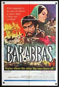 3z065 BARABBAS one-sheet '62 Richard Fleischer, cool artwork of Anthony Quinn & Silvana Mangano!
