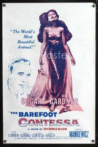 3z066 BAREFOOT CONTESSA 1sheet R60 great artwork of Humphrey Bogart & sexy full-length Ava Gardner!