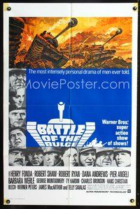 3z068 BATTLE OF THE BULGE int'l 1sh R70 Henry Fonda, Robert Shaw, cool Thurston tank art!