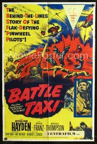 3z069 BATTLE TAXI one-sheet movie poster '55 Sterling Hayden, Arthur Franz, cool war artwork!