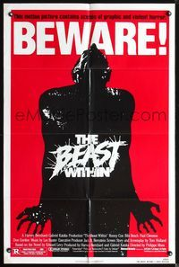 3z072 BEAST WITHIN one-sheet movie poster '82 Philippe Mora, BEWARE!, great horror art design!