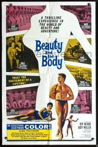 3z073 BEAUTY & THE BODY one-sheet movie poster '63 sexy female silhouette & male beefcake!