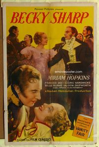 3z074 BECKY SHARP 1sheet R44 Rouben Mamoulian directs first Technicolor feature with Miriam Hopkins!