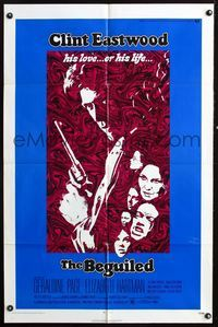 3z075 BEGUILED one-sheet '71 cool psychedelic art of Clint Eastwood, Geraldine Page, Don Siegel