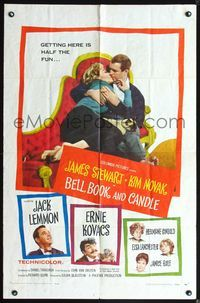 3z076 BELL, BOOK & CANDLE one-sheet poster '58 James Stewart & sexiest witch Kim Novak holding cat!