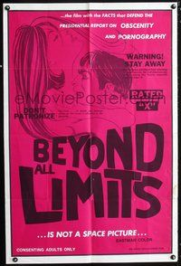 3z077 BEYOND ALL LIMITS one-sheet movie poster c60s x-rated educational sexploitation, sexy art!