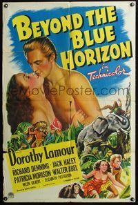 3z078 BEYOND THE BLUE HORIZON one-sheet '42 art of sexy Dorothy Lamour in sarong & Richard Denning!
