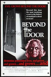 3z079 BEYOND THE DOOR one-sheet '74 demoniac possession lives, the most terrifying event of mankind!