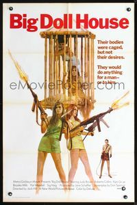 3z080 BIG DOLL HOUSE one-sheet poster '71 artwork of Pam Grier & sexy caged girls with huge guns!