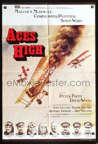 3z020 ACES HIGH English one-sheet '76 Malcolm McDowell, really cool WWI airplane dogfight art!