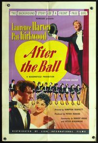 3z028 AFTER THE BALL English one-sheet '57 Laurence Harvey, Pat Kirkwood, cool art of dancers!
