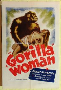 3z001 GORILLA WOMAN one-sheet '40s wonderful art of giant African ape holding sexy near-naked babe!