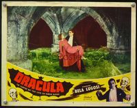4b309 DRACULA lobby card #8 R51 best image of vampire Bela Lugosi with cape carrying Helen Chandler!