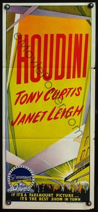 4d646 HOUDINI stock Australian daybill 53 magician Tony Curtis and his sexy assistant Janet Leigh
