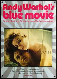 4d004 BLUE MOVIE German 33x47 movie poster '71 Andy Warhol, great sexy image of Viva!