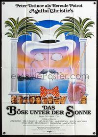 4d011 EVIL UNDER THE SUN German 33x47 poster '82 Agatha Christie, Anthony Shaffer, Peter Ustinov