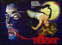 4d014 HORROR OF DRACULA German 33x47 R60s Hammer vampires, cool art of Christopher Lee & sexy girl!
