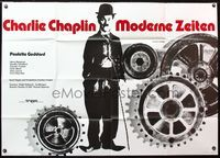 4d018 MODERN TIMES German 33x47 movie poster R63 classic Charlie Chaplin, great image!